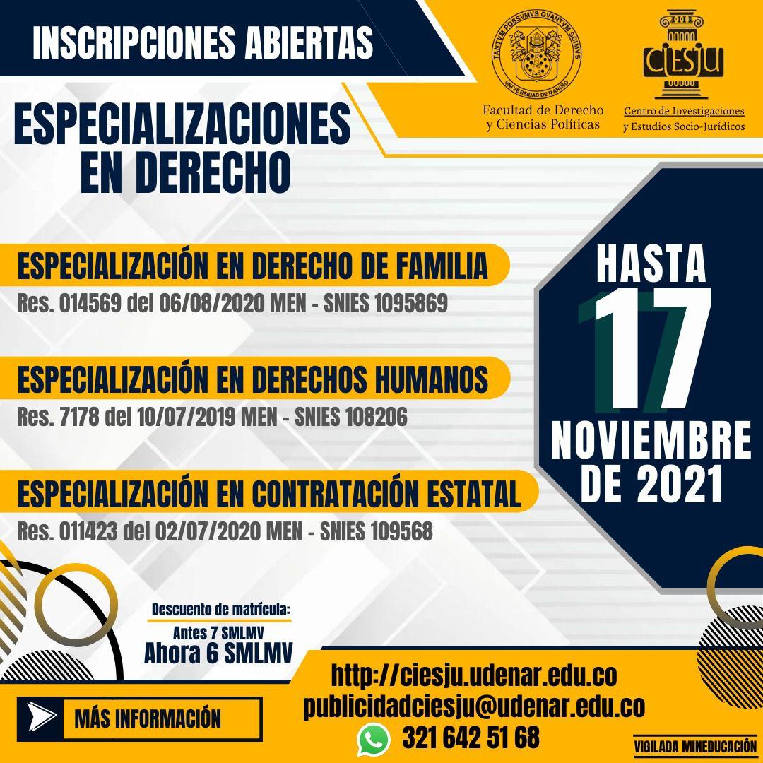 Se encuentran abiertas las Especializaciones en Derecho de Familia, Derechos Humanos y Contratación Estatal