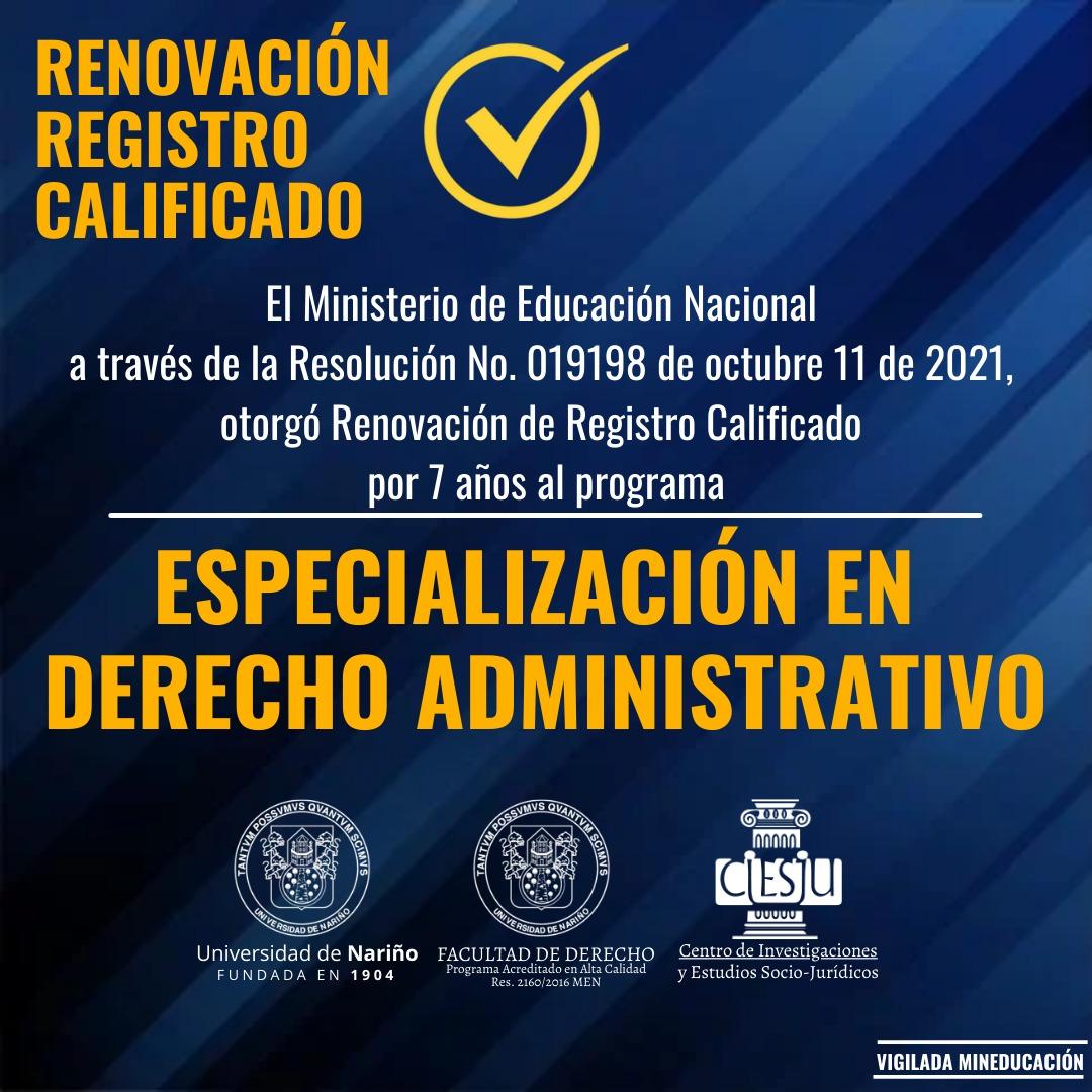 Renovación Registro Calificado Especialización en Derecho Administrativo